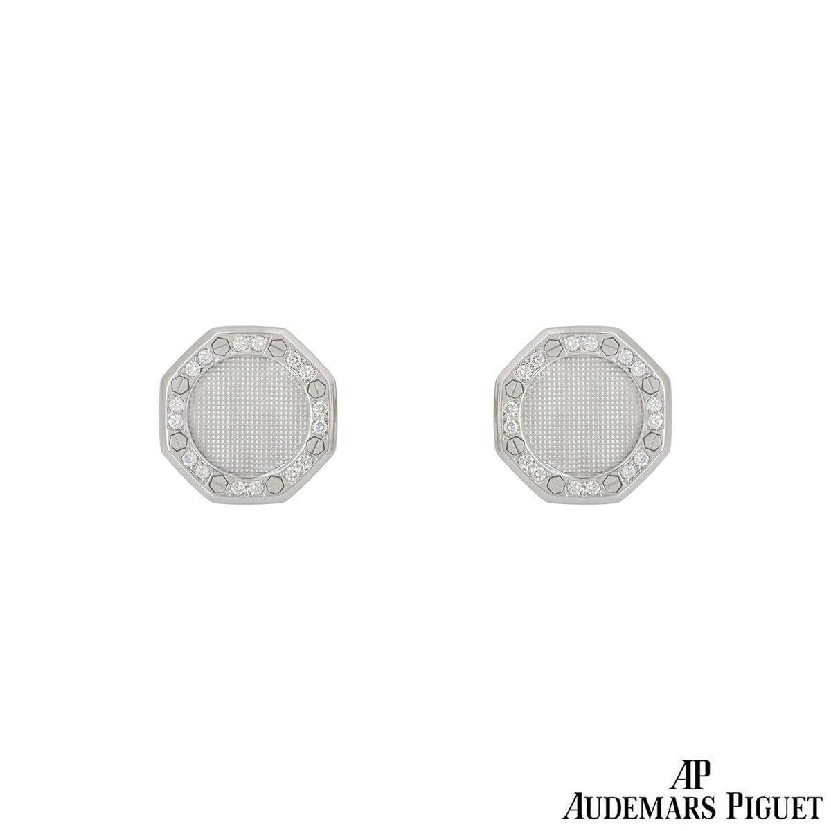 Audemars Piguet White Gold Diamond Royal Oak Cufflinks
